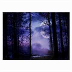 Moonlit A Forest At Night With A Full Moon Large Glasses Cloth (2 Side) by Simbadda