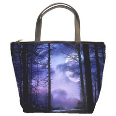 Moonlit A Forest At Night With A Full Moon Bucket Bags by Simbadda