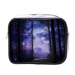 Moonlit A Forest At Night With A Full Moon Mini Toiletries Bags by Simbadda