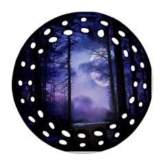 Moonlit A Forest At Night With A Full Moon Round Filigree Ornament (two Sides) by Simbadda