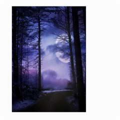 Moonlit A Forest At Night With A Full Moon Large Garden Flag (two Sides) by Simbadda
