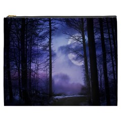 Moonlit A Forest At Night With A Full Moon Cosmetic Bag (XXXL)