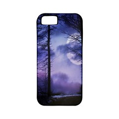 Moonlit A Forest At Night With A Full Moon Apple Iphone 5 Classic Hardshell Case (pc+silicone) by Simbadda