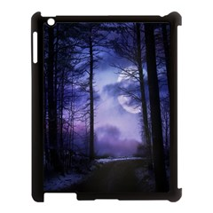 Moonlit A Forest At Night With A Full Moon Apple Ipad 3/4 Case (black) by Simbadda