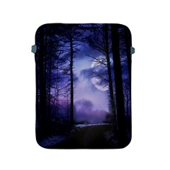 Moonlit A Forest At Night With A Full Moon Apple Ipad 2/3/4 Protective Soft Cases by Simbadda
