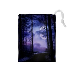 Moonlit A Forest At Night With A Full Moon Drawstring Pouches (medium)  by Simbadda