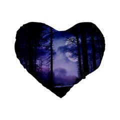 Moonlit A Forest At Night With A Full Moon Standard 16  Premium Flano Heart Shape Cushions by Simbadda