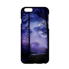 Moonlit A Forest At Night With A Full Moon Apple Iphone 6/6s Hardshell Case by Simbadda