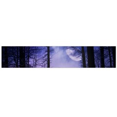 Moonlit A Forest At Night With A Full Moon Flano Scarf (large) by Simbadda