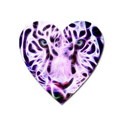 Fractal Wire White Tiger Heart Magnet by Simbadda