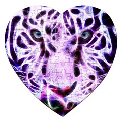 Fractal Wire White Tiger Jigsaw Puzzle (heart) by Simbadda