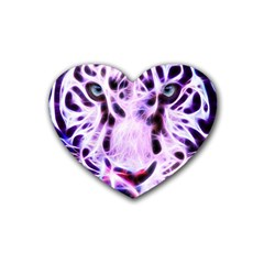 Fractal Wire White Tiger Rubber Coaster (heart)  by Simbadda