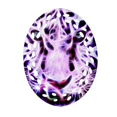 Fractal Wire White Tiger Oval Filigree Ornament (two Sides) by Simbadda
