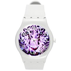 Fractal Wire White Tiger Round Plastic Sport Watch (m) by Simbadda