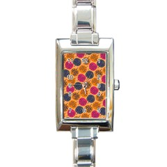 Colorful Trees Background Pattern Rectangle Italian Charm Watch by Simbadda