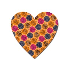 Colorful Trees Background Pattern Heart Magnet