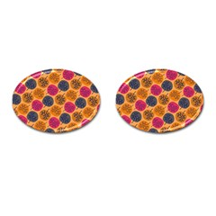 Colorful Trees Background Pattern Cufflinks (oval) by Simbadda