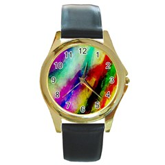 Colorful Abstract Paint Splats Background Round Gold Metal Watch by Simbadda