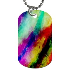 Colorful Abstract Paint Splats Background Dog Tag (one Side) by Simbadda