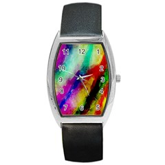 Colorful Abstract Paint Splats Background Barrel Style Metal Watch by Simbadda