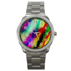 Colorful Abstract Paint Splats Background Sport Metal Watch by Simbadda