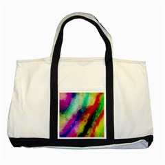 Colorful Abstract Paint Splats Background Two Tone Tote Bag by Simbadda