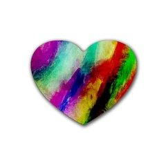 Colorful Abstract Paint Splats Background Heart Coaster (4 Pack)  by Simbadda