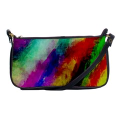 Colorful Abstract Paint Splats Background Shoulder Clutch Bags by Simbadda