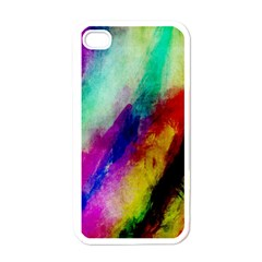 Colorful Abstract Paint Splats Background Apple Iphone 4 Case (white) by Simbadda