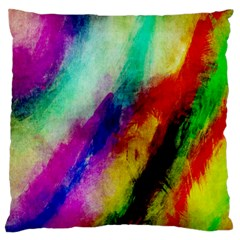 Colorful Abstract Paint Splats Background Large Flano Cushion Case (one Side) by Simbadda