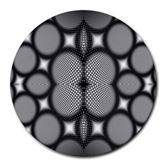 Mirror Of Black And White Fractal Texture Round Mousepads by Simbadda