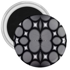 Mirror Of Black And White Fractal Texture 3  Magnets by Simbadda
