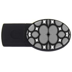 Mirror Of Black And White Fractal Texture USB Flash Drive Oval (1 GB) by Simbadda