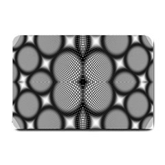 Mirror Of Black And White Fractal Texture Small Doormat  by Simbadda