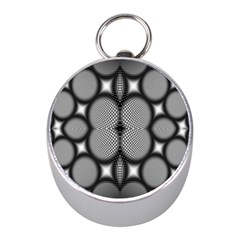 Mirror Of Black And White Fractal Texture Mini Silver Compasses by Simbadda