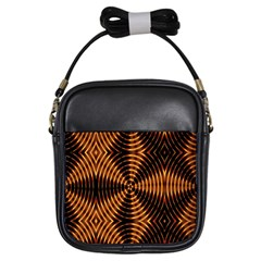 Fractal Pattern Of Fire Color Girls Sling Bags by Simbadda
