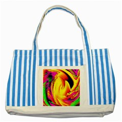 Stormy Yellow Wave Abstract Paintwork Striped Blue Tote Bag by Simbadda