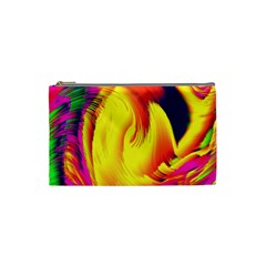 Stormy Yellow Wave Abstract Paintwork Cosmetic Bag (small)  by Simbadda