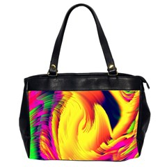 Stormy Yellow Wave Abstract Paintwork Office Handbags (2 Sides)  by Simbadda