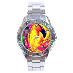 Stormy Yellow Wave Abstract Paintwork Stainless Steel Analogue Watch by Simbadda