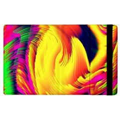 Stormy Yellow Wave Abstract Paintwork Apple Ipad 2 Flip Case by Simbadda
