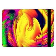 Stormy Yellow Wave Abstract Paintwork Samsung Galaxy Tab Pro 12 2  Flip Case by Simbadda