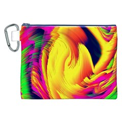 Stormy Yellow Wave Abstract Paintwork Canvas Cosmetic Bag (xxl) by Simbadda