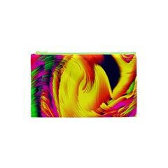Stormy Yellow Wave Abstract Paintwork Cosmetic Bag (xs)