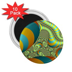 Gold Blue Fractal Worms Background 2 25  Magnets (10 Pack)