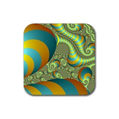 Gold Blue Fractal Worms Background Rubber Square Coaster (4 Pack)  by Simbadda