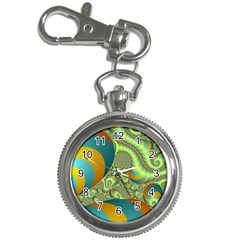 Gold Blue Fractal Worms Background Key Chain Watches by Simbadda