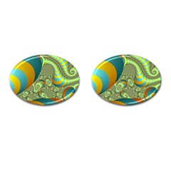 Gold Blue Fractal Worms Background Cufflinks (oval) by Simbadda
