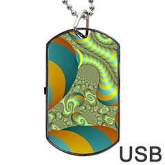 Gold Blue Fractal Worms Background Dog Tag Usb Flash (two Sides) by Simbadda