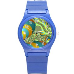 Gold Blue Fractal Worms Background Round Plastic Sport Watch (s) by Simbadda